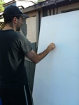 how to paint a mural set up tarps