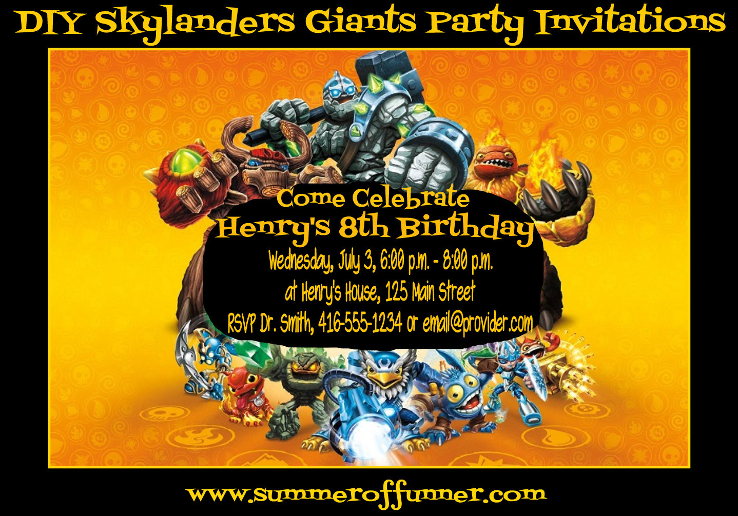 DIY Skylanders Giants Birthday Party Invitations