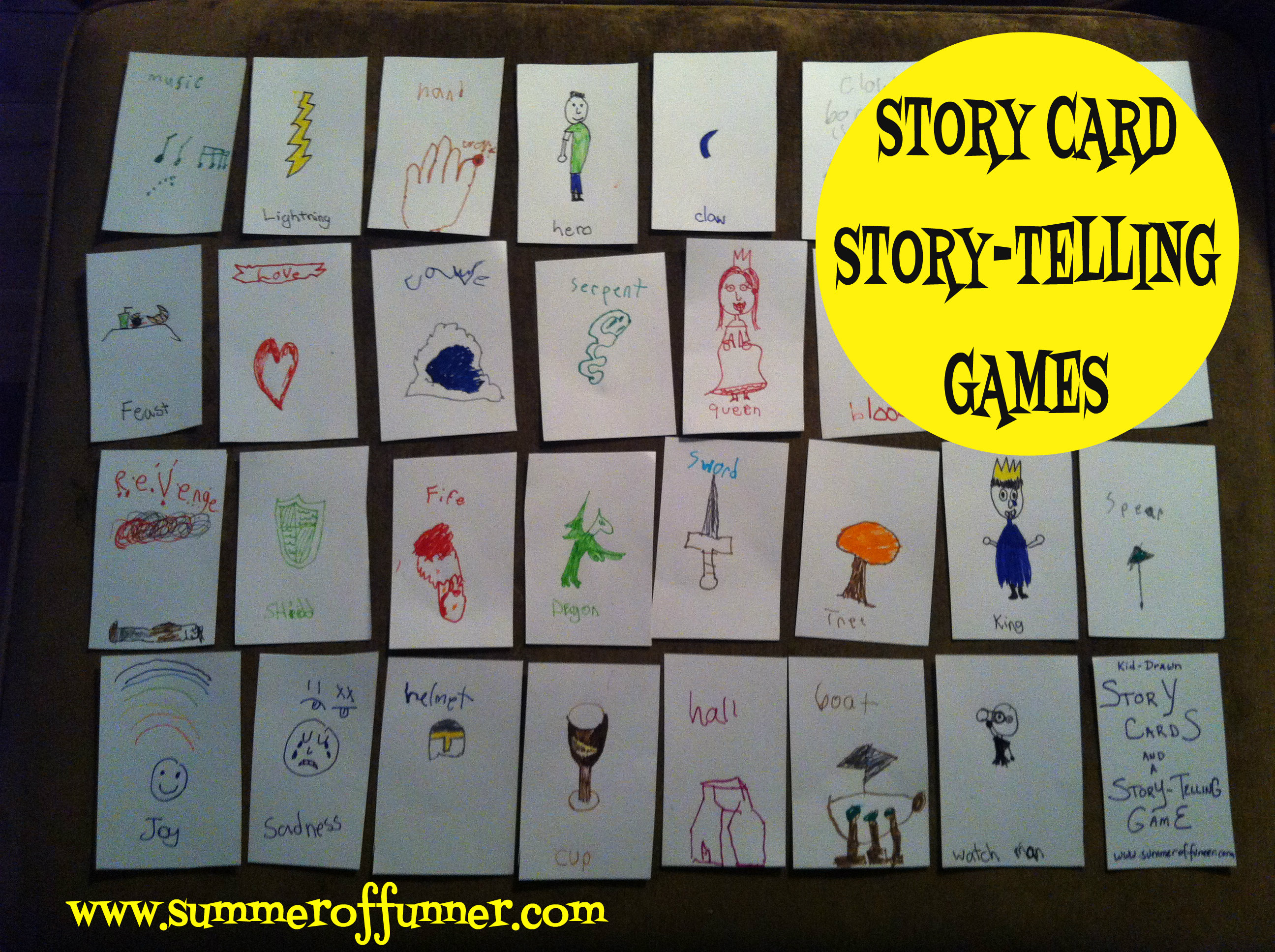 Kid-Drawn Story Cards & Story-Telling Games - Summer of Funner
